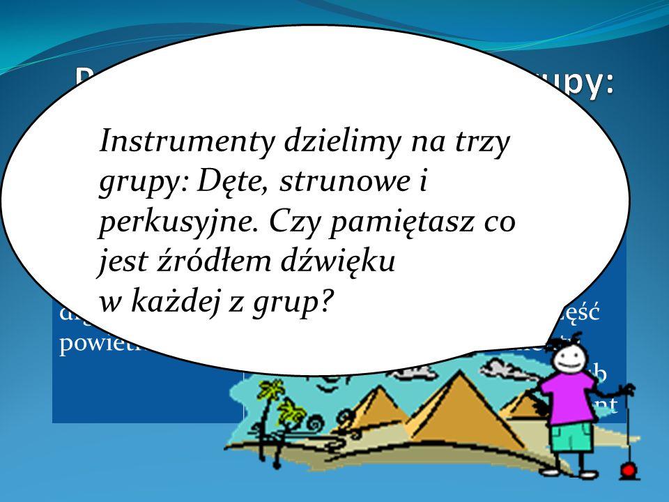Podział instrumentów na grupy:
