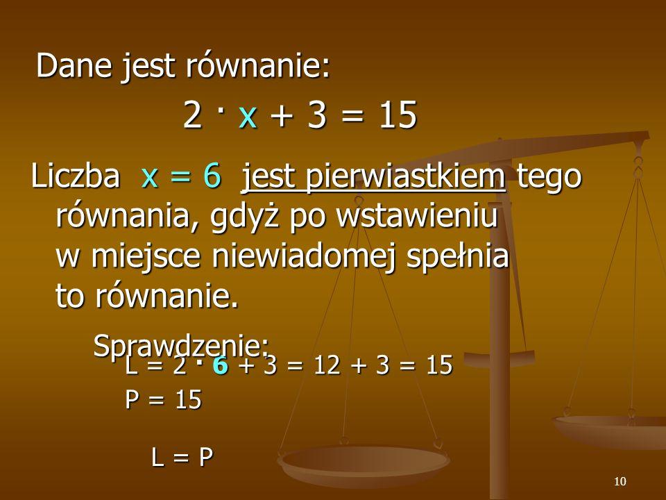 2 · x + 3 = 15 Dane jest równanie: