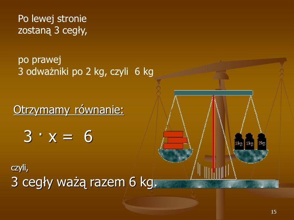 3 · x = 6 Otrzymamy równanie: Po lewej stronie zostaną 3 cegły,