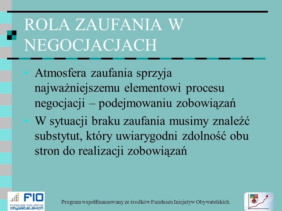 ROLA ZAUFANIA W NEGOCJACJACH