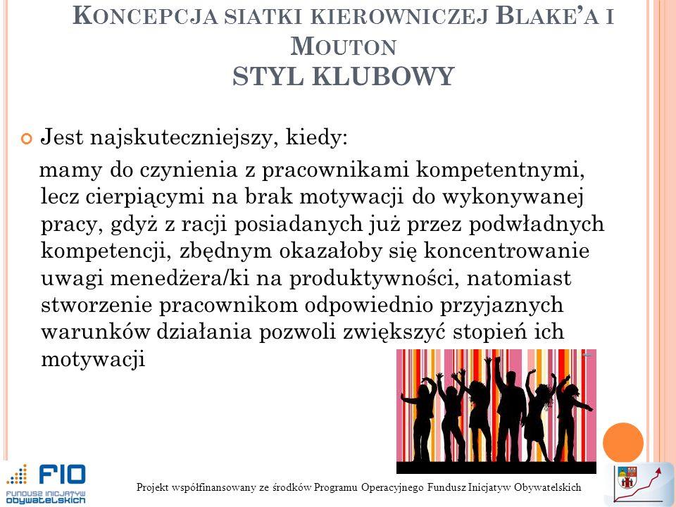 Koncepcja siatki kierowniczej Blake'a i Mouton STYL KLUBOWY