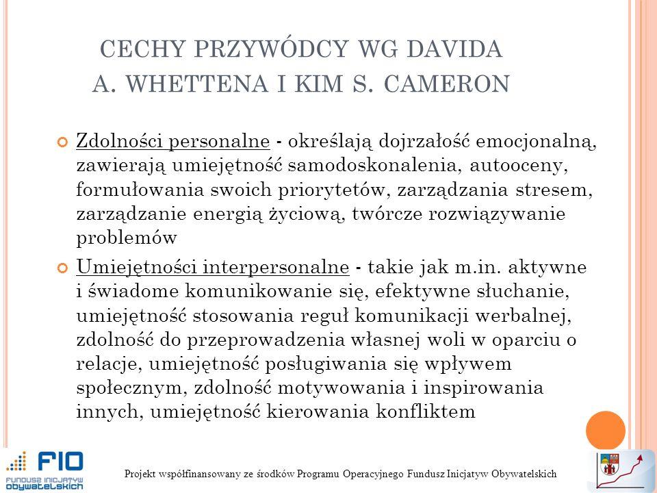 cechy przywódcy wg davida a. whettena i kim s. cameron