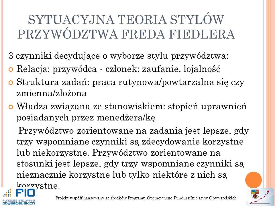 SYTUACYJNA TEORIA STYLÓW PRZYWÓDZTWA FREDA FIEDLERA