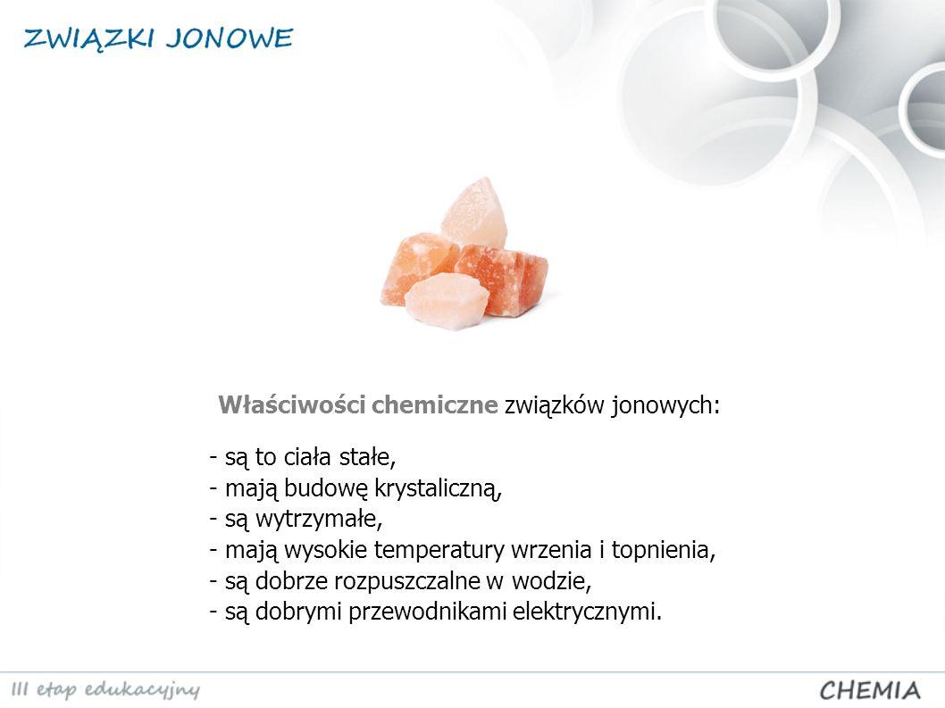 Właściwości chemiczne związków jonowych: