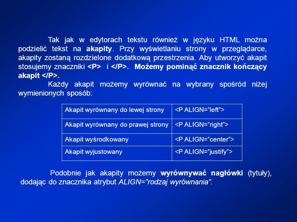 Tak jak w edytorach tekstu również w języku HTML można podzielić tekst na akapity. Przy wyświetlaniu strony w przeglądarce, akapity zostaną rozdzielone dodatkową przestrzenia. Aby utworzyć akapit stosujemy znaczniki <P> i </P>. Możemy pominąć znacznik kończący akapit </P>.