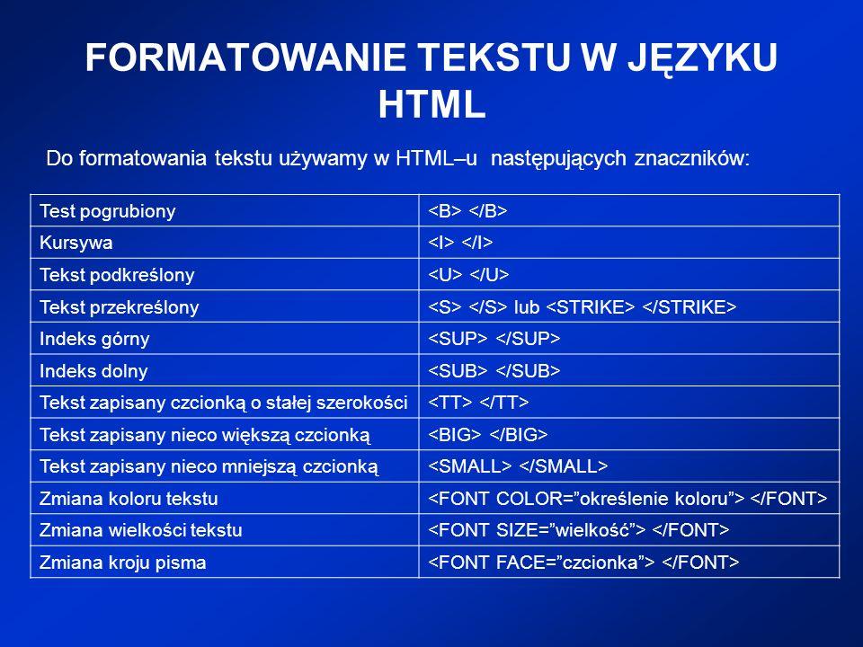 FORMATOWANIE TEKSTU W JĘZYKU HTML
