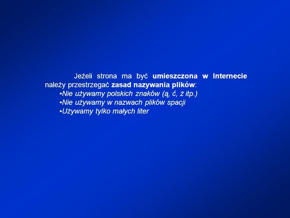 Jeżeli strona ma być umieszczona w Internecie należy przestrzegać zasad nazywania plików: