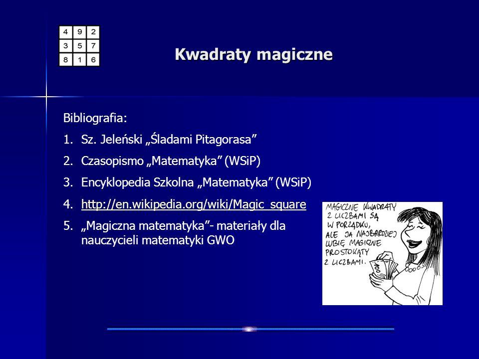 """Kwadraty magiczne Bibliografia: Sz. Jeleński """"Śladami Pitagorasa"""
