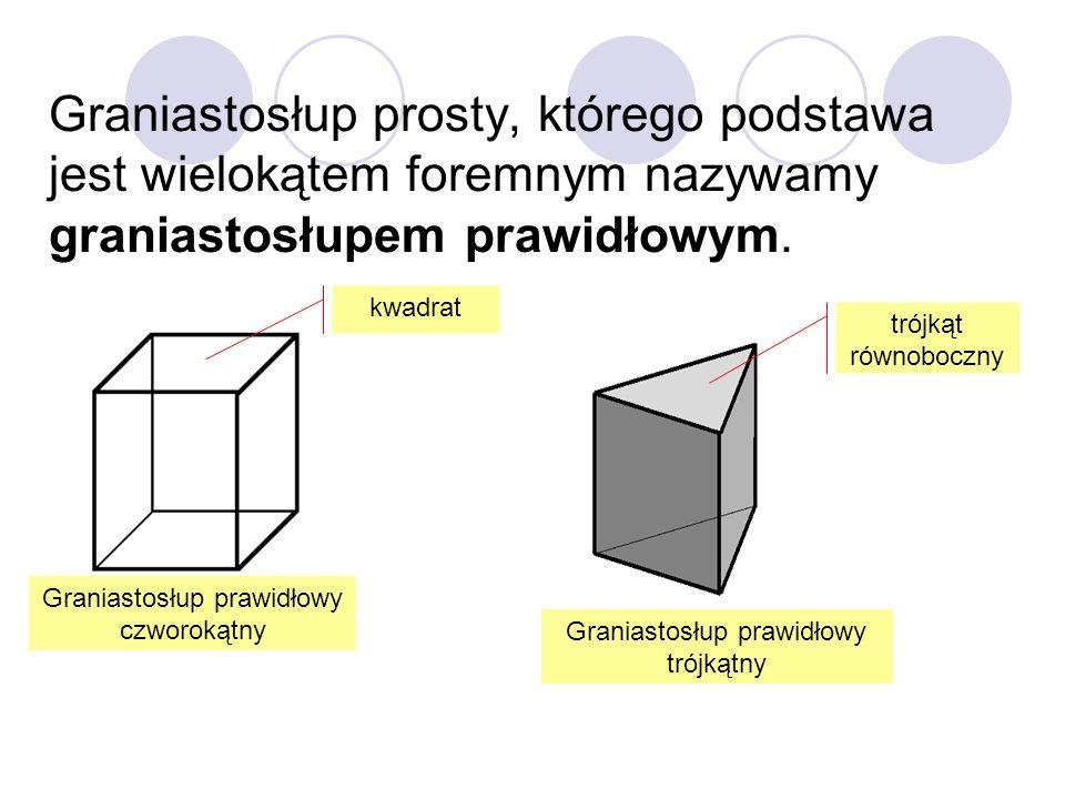 Graniastosłup prosty, którego podstawa jest wielokątem foremnym nazywamy graniastosłupem prawidłowym.