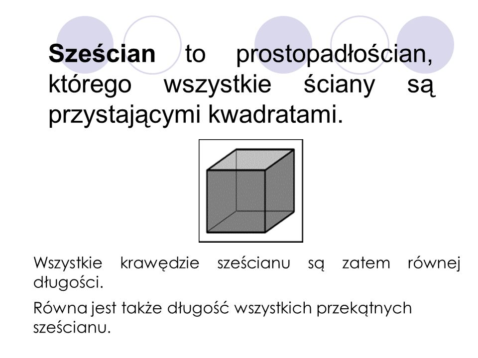 Sześcian to prostopadłościan, którego wszystkie ściany są przystającymi kwadratami.