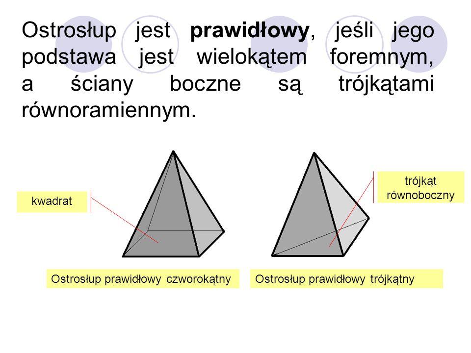 Ostrosłup jest prawidłowy, jeśli jego podstawa jest wielokątem foremnym, a ściany boczne są trójkątami równoramiennym.