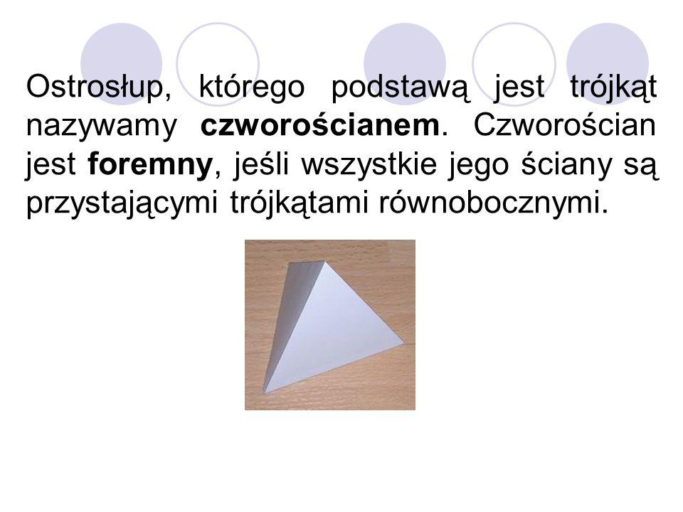 Ostrosłup, którego podstawą jest trójkąt nazywamy czworościanem