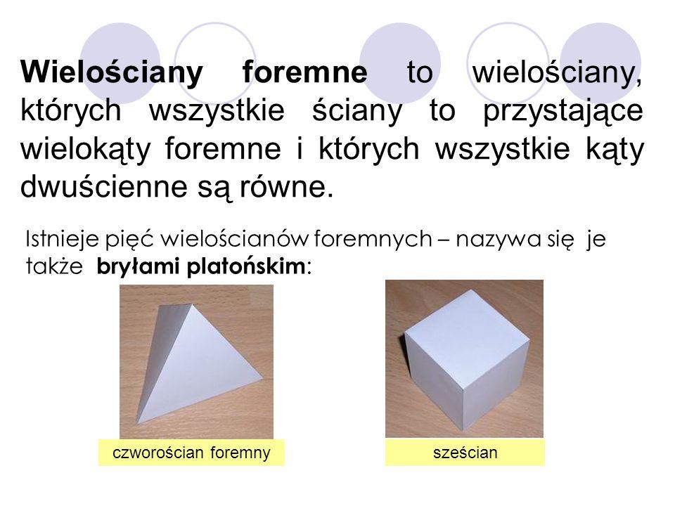 Wielościany foremne to wielościany, których wszystkie ściany to przystające wielokąty foremne i których wszystkie kąty dwuścienne są równe.