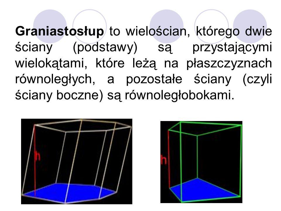 Graniastosłup to wielościan, którego dwie ściany (podstawy) są przystającymi wielokątami, które leżą na płaszczyznach równoległych, a pozostałe ściany (czyli ściany boczne) są równoległobokami.