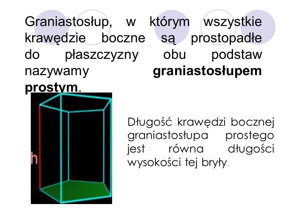 Graniastosłup, w którym wszystkie krawędzie boczne są prostopadłe do płaszczyzny obu podstaw nazywamy graniastosłupem prostym.