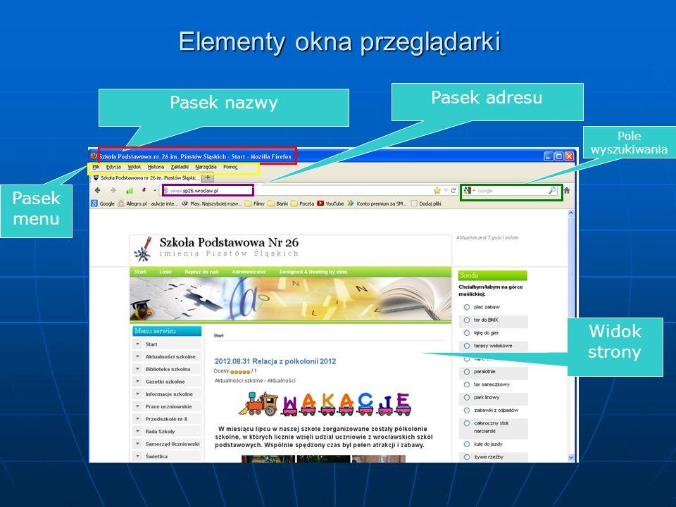 Elementy okna przeglądarki