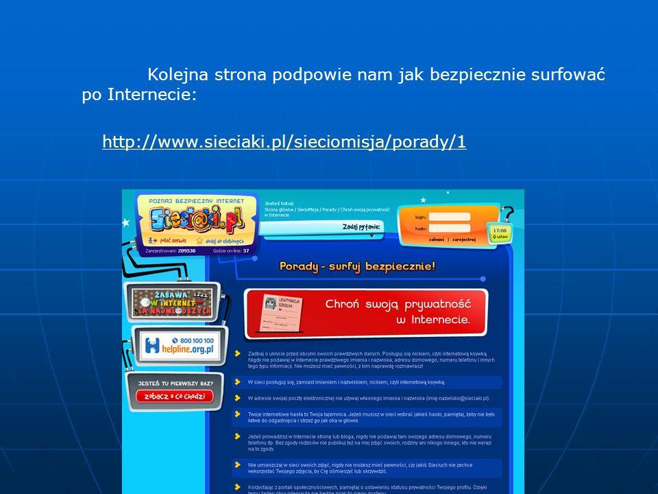 Kolejna strona podpowie nam jak bezpiecznie surfować po Internecie: