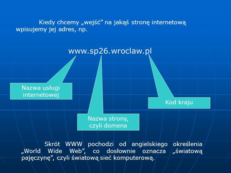 """Kiedy chcemy """"wejść na jakąś stronę internetową wpisujemy jej adres, np."""