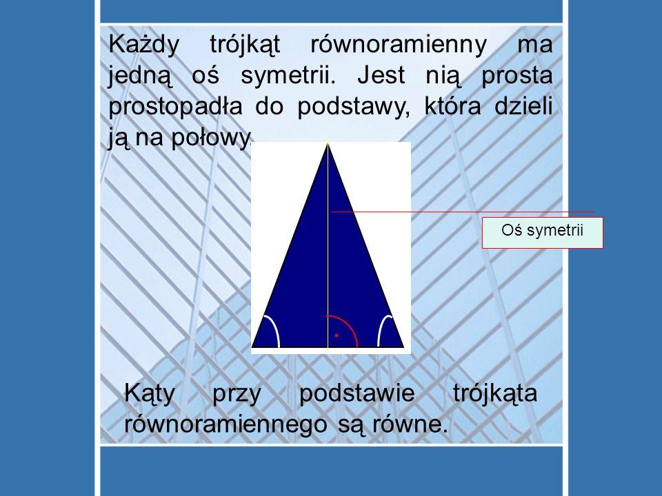 Każdy trójkąt równoramienny ma jedną oś symetrii