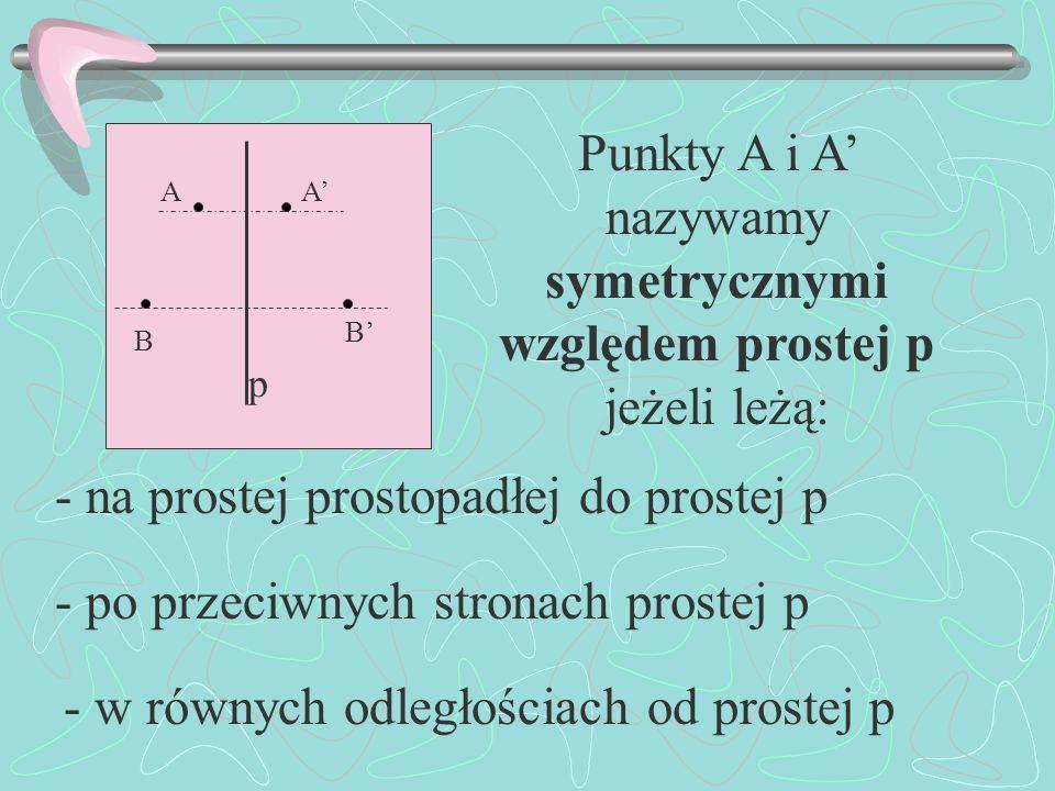 Punkty A i A' nazywamy symetrycznymi względem prostej p jeżeli leżą: