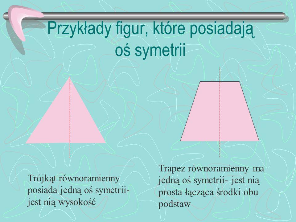 Przykłady figur, które posiadają oś symetrii