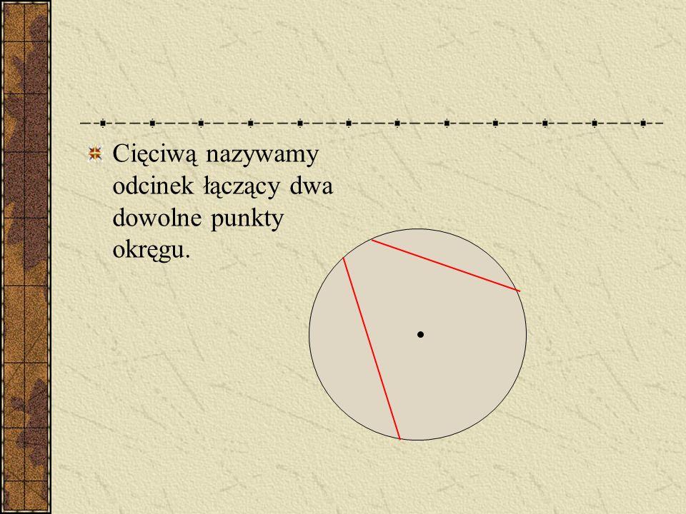 Cięciwą nazywamy odcinek łączący dwa dowolne punkty okręgu.
