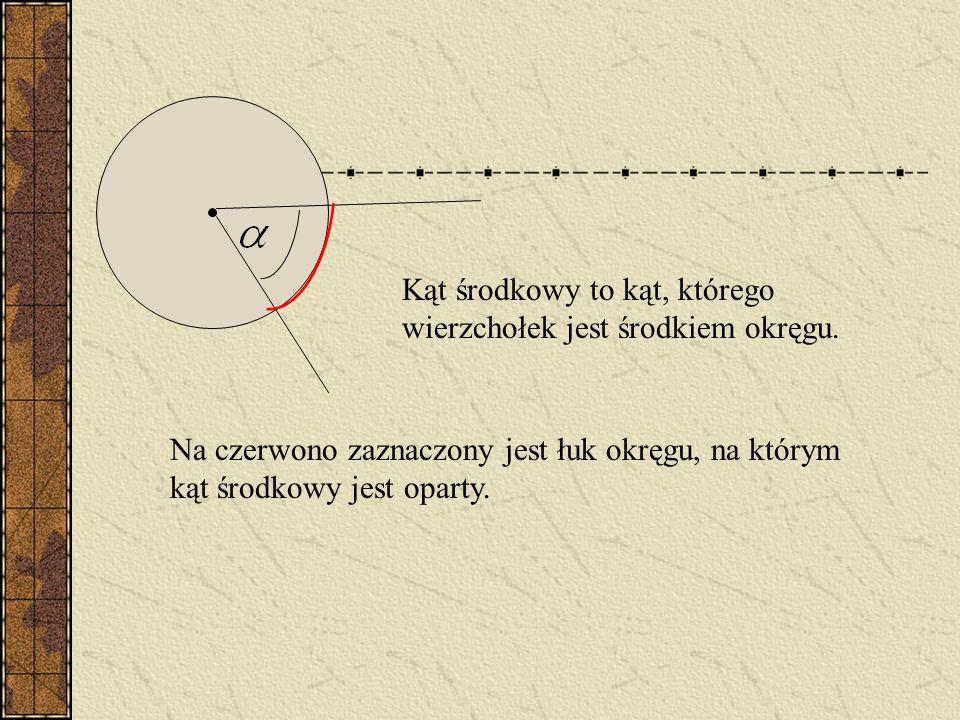 Kąt środkowy to kąt, którego wierzchołek jest środkiem okręgu.