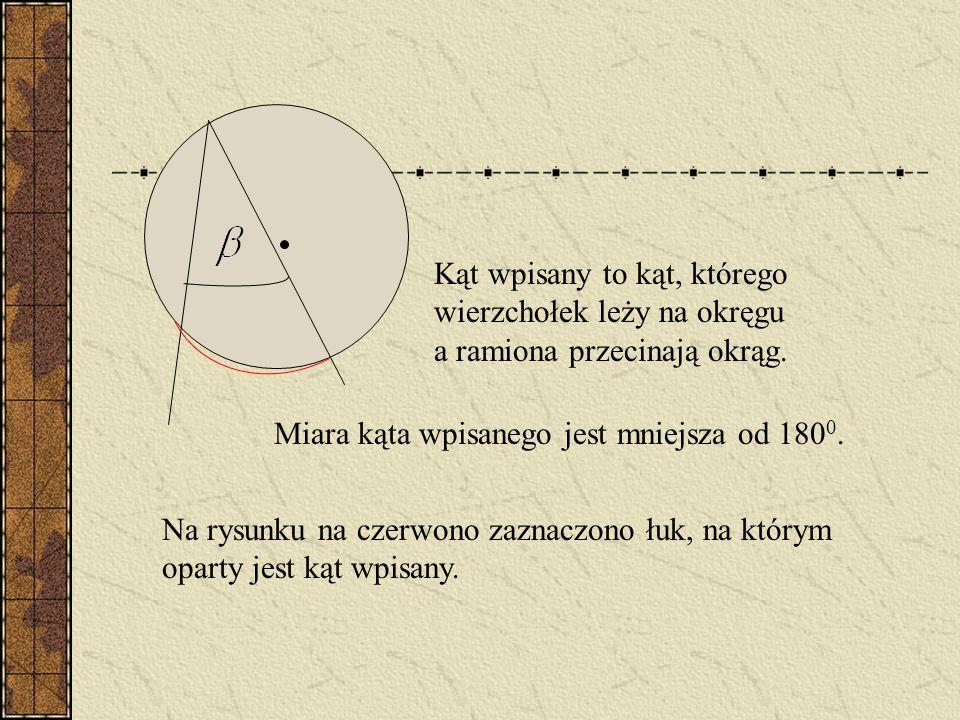 Kąt wpisany to kąt, którego wierzchołek leży na okręgu a ramiona przecinają okrąg.