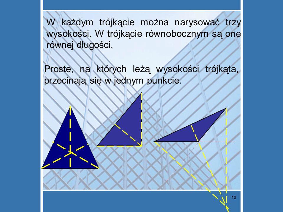 W każdym trójkącie można narysować trzy wysokości