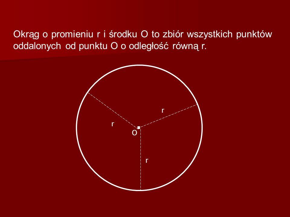 Okrąg o promieniu r i środku O to zbiór wszystkich punktów oddalonych od punktu O o odległość równą r.