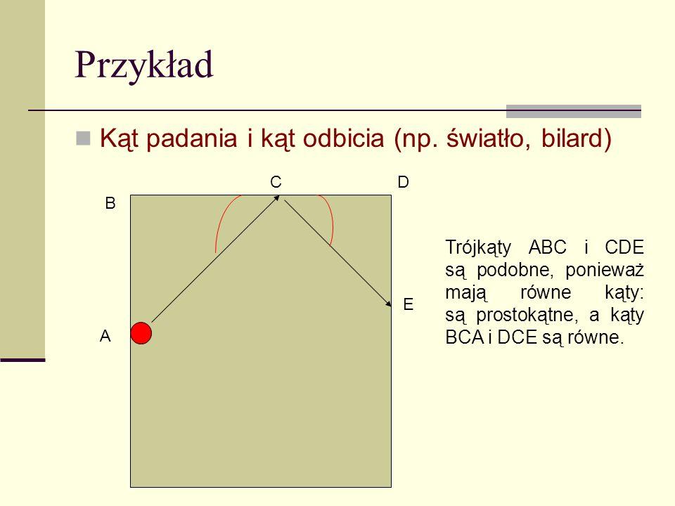 Przykład Kąt padania i kąt odbicia (np. światło, bilard)