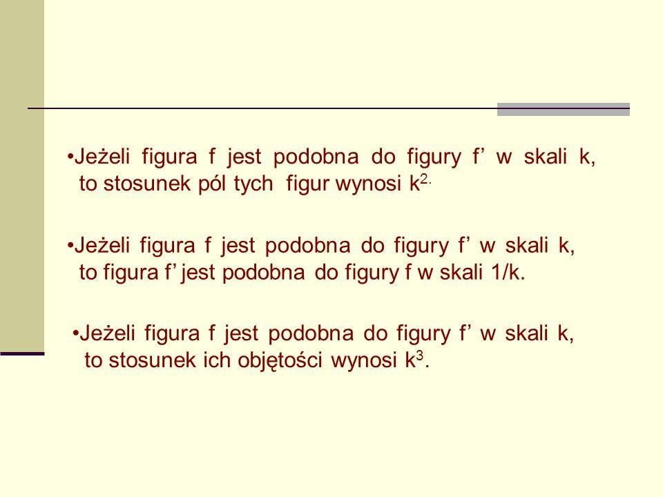 Jeżeli figura f jest podobna do figury f' w skali k, to stosunek pól tych figur wynosi k2.