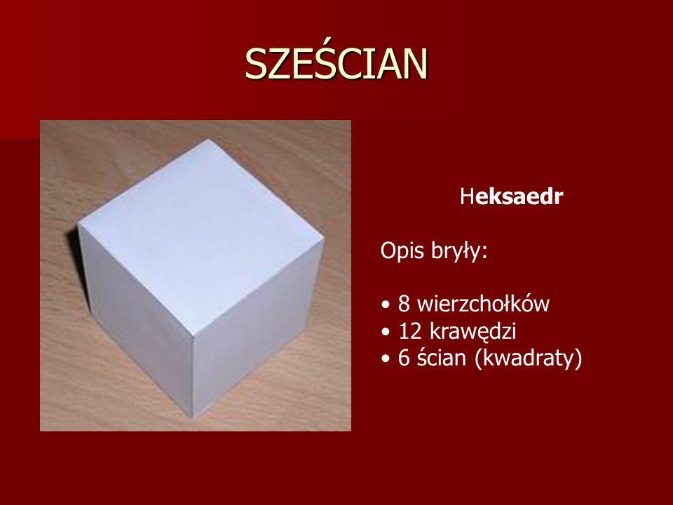 SZEŚCIAN Heksaedr Opis bryły: 8 wierzchołków 12 krawędzi