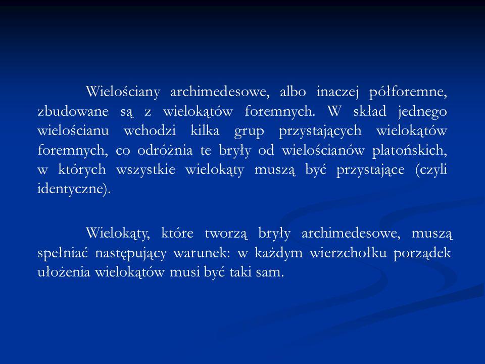 Wielościany archimedesowe, albo inaczej półforemne, zbudowane są z wielokątów foremnych. W skład jednego wielościanu wchodzi kilka grup przystających wielokątów foremnych, co odróżnia te bryły od wielościanów platońskich, w których wszystkie wielokąty muszą być przystające (czyli identyczne).