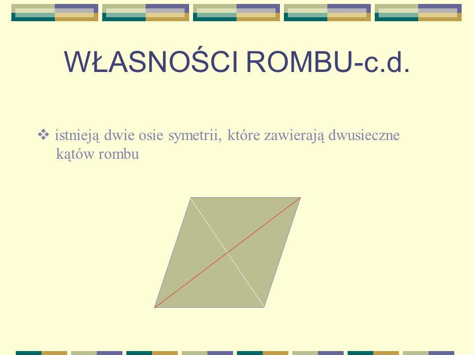 WŁASNOŚCI ROMBU-c.d. istnieją dwie osie symetrii, które zawierają dwusieczne kątów rombu