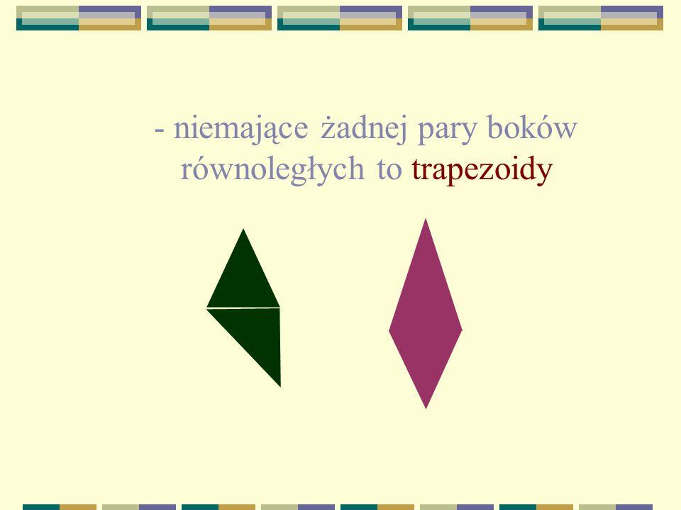 - niemające żadnej pary boków równoległych to trapezoidy