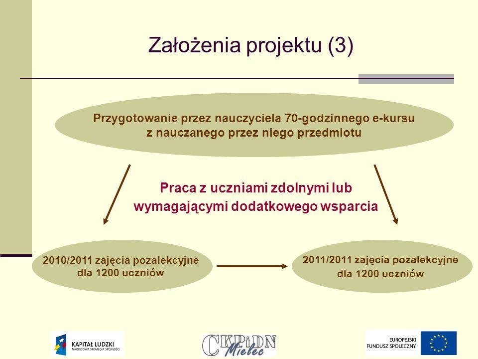 Założenia projektu (3) Praca z uczniami zdolnymi lub