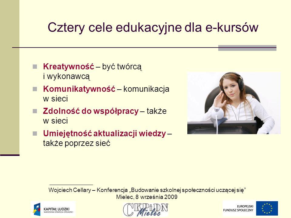 Cztery cele edukacyjne dla e-kursów