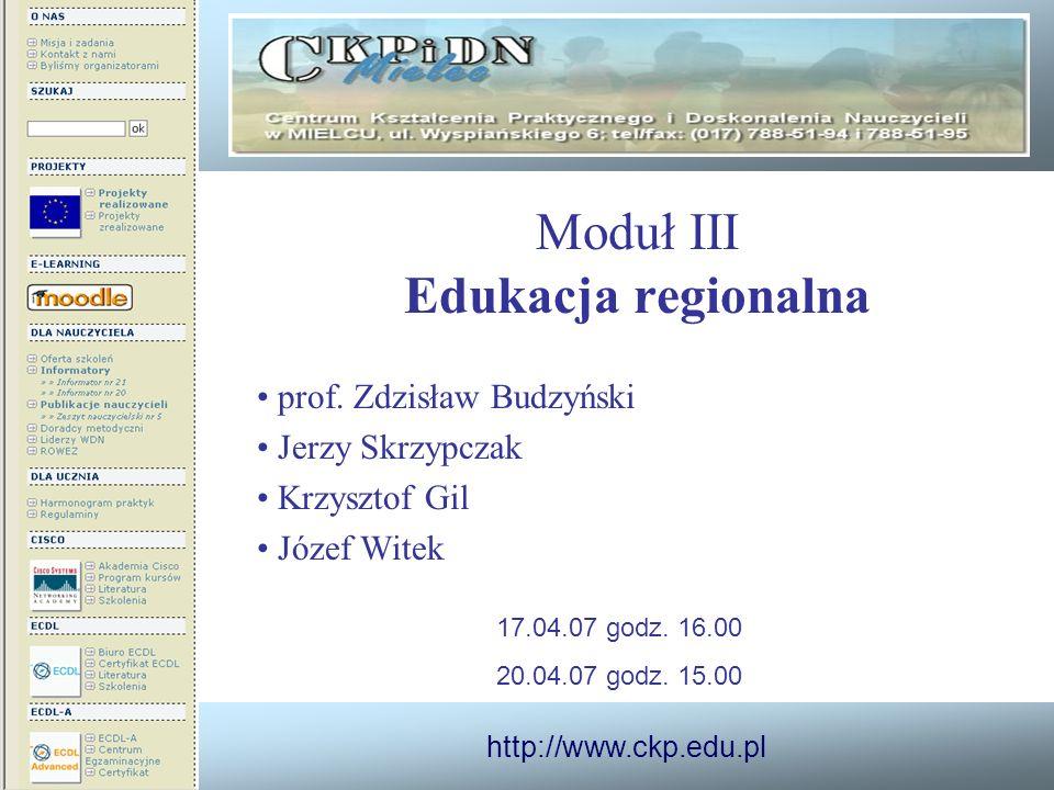 Moduł III Edukacja regionalna
