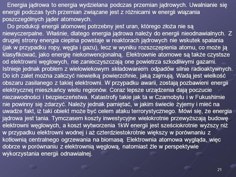 Energia jądrowa to energia wydzielana podczas przemian jądrowych