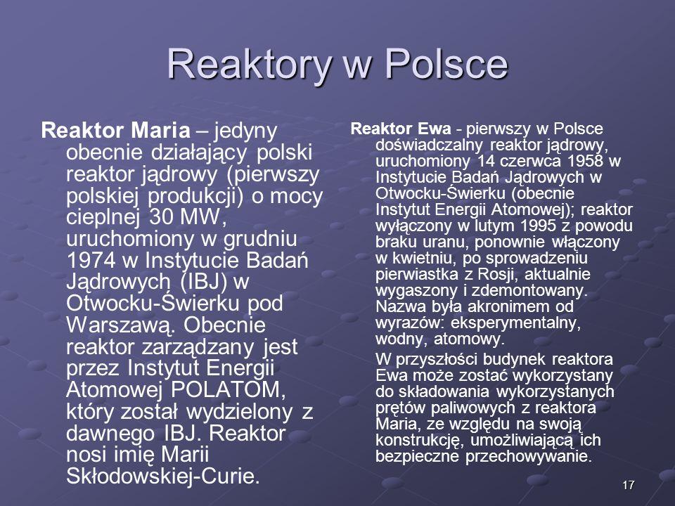 Reaktory w Polsce