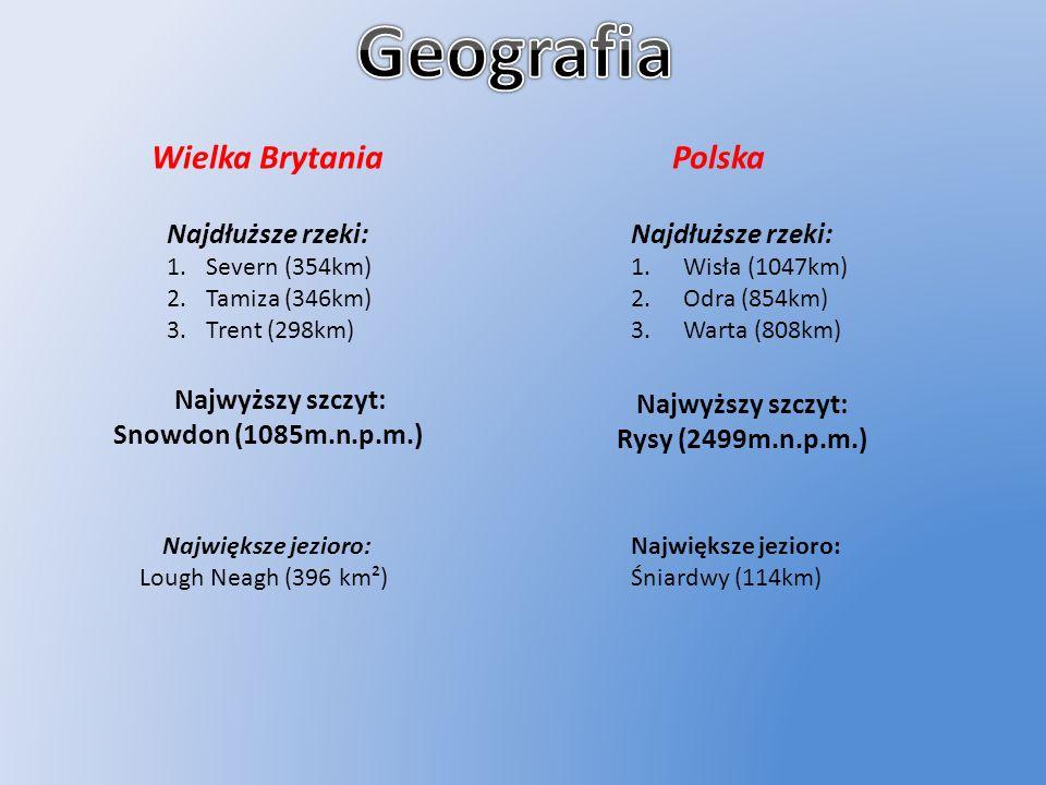 Geografia Wielka Brytania Polska Najdłuższe rzeki: Najdłuższe rzeki: