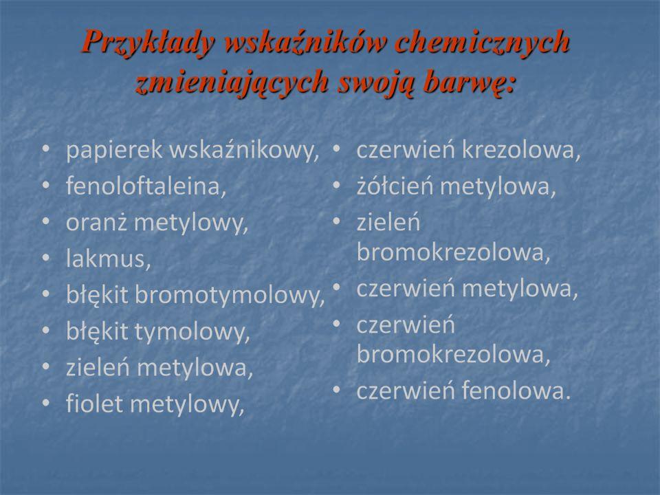 Przykłady wskaźników chemicznych zmieniających swoją barwę: