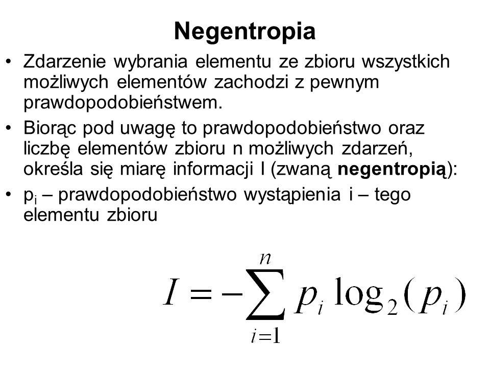 Negentropia Zdarzenie wybrania elementu ze zbioru wszystkich możliwych elementów zachodzi z pewnym prawdopodobieństwem.