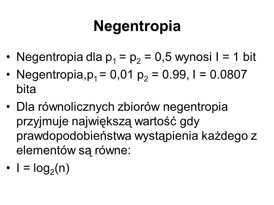 Negentropia Negentropia dla p1 = p2 = 0,5 wynosi I = 1 bit