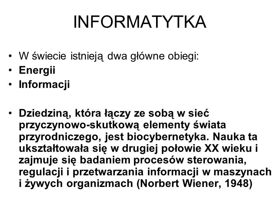 INFORMATYTKA W świecie istnieją dwa główne obiegi: Energii Informacji