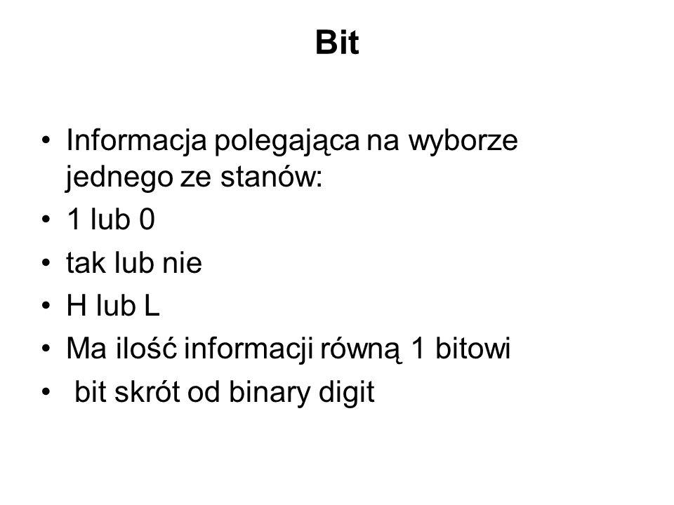 Bit Informacja polegająca na wyborze jednego ze stanów: 1 lub 0