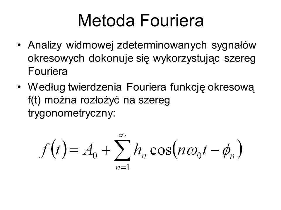 Metoda Fouriera Analizy widmowej zdeterminowanych sygnałów okresowych dokonuje się wykorzystując szereg Fouriera.
