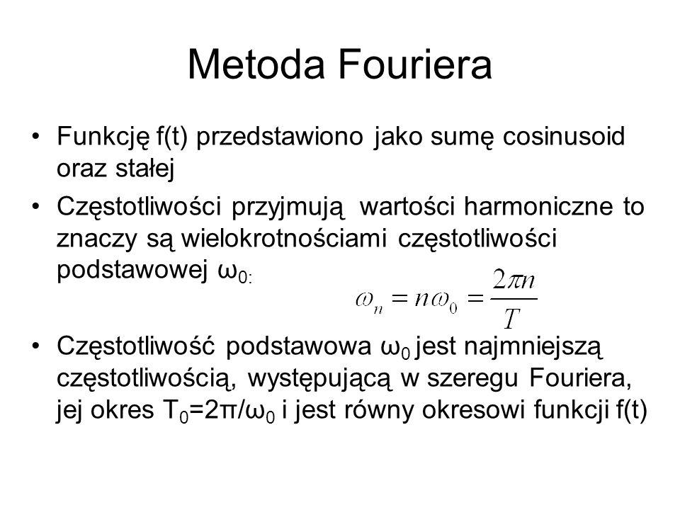 Metoda Fouriera Funkcję f(t) przedstawiono jako sumę cosinusoid oraz stałej.