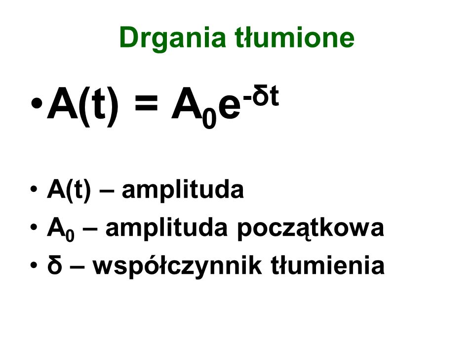 A(t) = A0e-δt Drgania tłumione A(t) – amplituda
